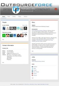 About Page of Google+ -- online marketing outsourcing